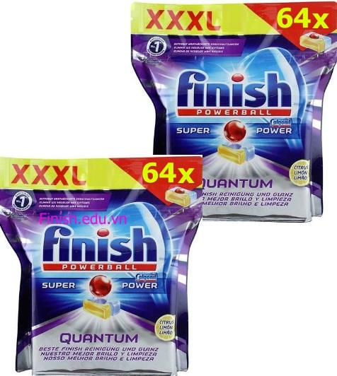 viên rửa bát finish super quantum made in eu 128 viên
