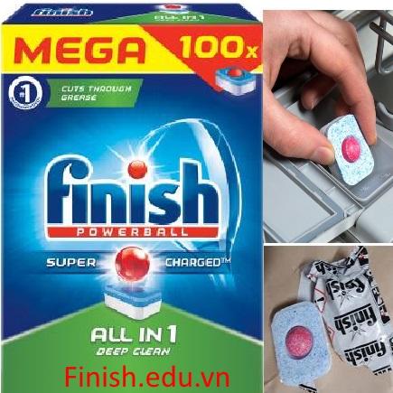 viên rửa bát finish all in one 100 tabs chuyên dùng cho máy rửa bát