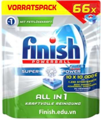 viên rửa bát finish all in 1 super power 66x