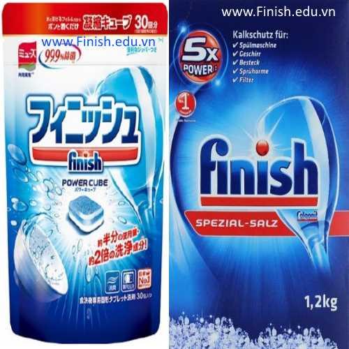 viên rửa bát nhật bản finish power cube 30 viên và muối rửa chén finish đức 1.2kg combo hoàn hảo cho máy rửa chén panasonic