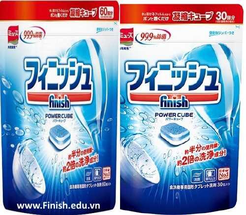 viên rửa bát nhật bản finish power cube 90 tabs và muối rửa chén finish 3kg nhập khẩu đức châu âu