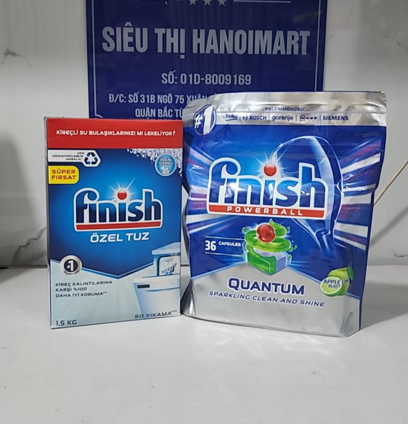 combo Muối làm mềm nước finish 1.5kg kết hợp viên rửa bát finish quantum max hương chanh 36 tabs
