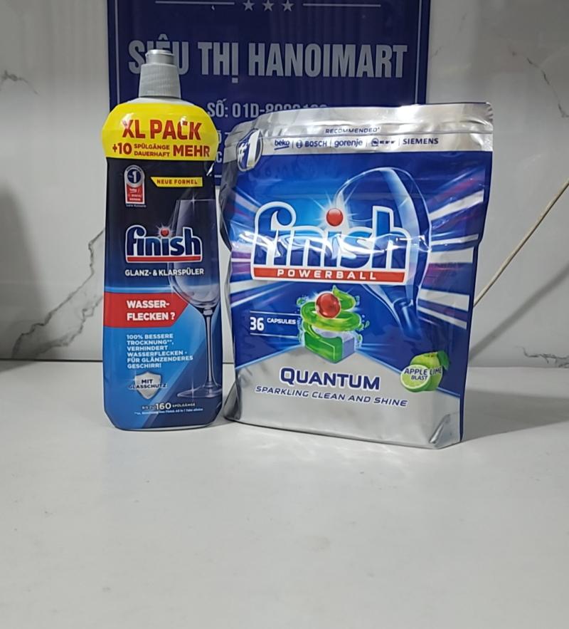 Nước làm bóng finish 800ml kết hợp viên rửa bát finish quantum 36 tabs nhập khẩu ba lan combo giá rẻ